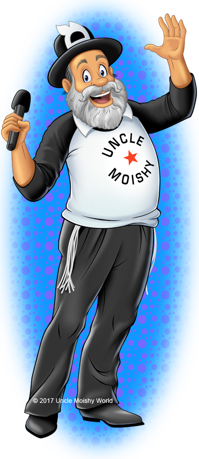 the official uncle moishy mascot cartoon character